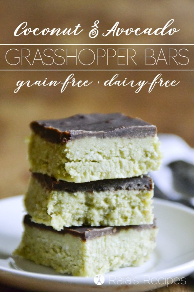 These Coconut & Avocado Grasshopper Bars are allergy-friendly and full of healthy, real-food deliciousness. And they're completely devoid of grasshoppers... | RaiasRecipes.com