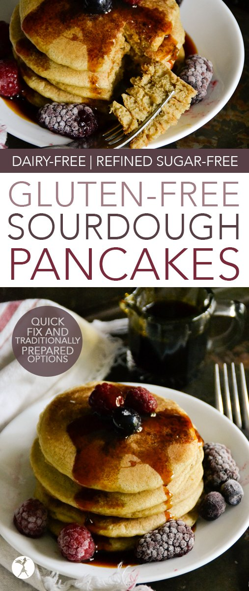 These easy, Gluten-Free Sourdough Pancakes are a family favorite and a quick and easy way to enjoy traditionally prepared grains! #glutenfree #sourdough #pancakes #fermentedfood #traditionalfood #sorghumflour #dairyfree #refinedsugarfree #breakfast