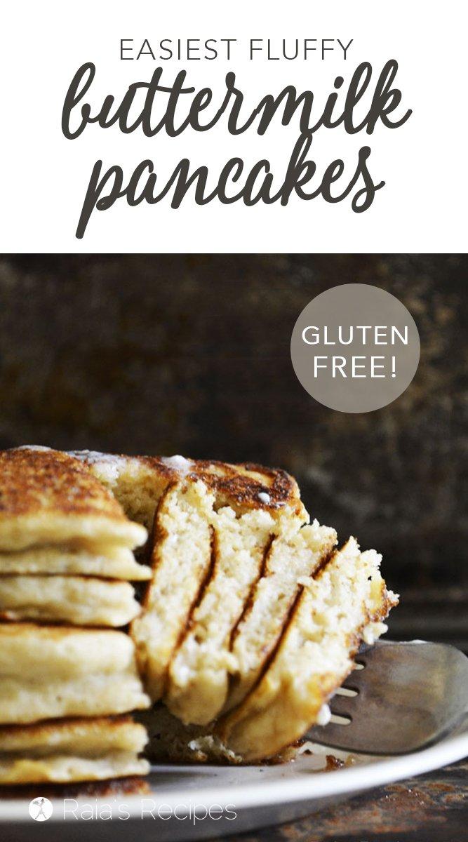 Easiest Fluffy Buttermilk Pancakes #glutenfree #sugarfree #pancakes #buttermilk #breakfast