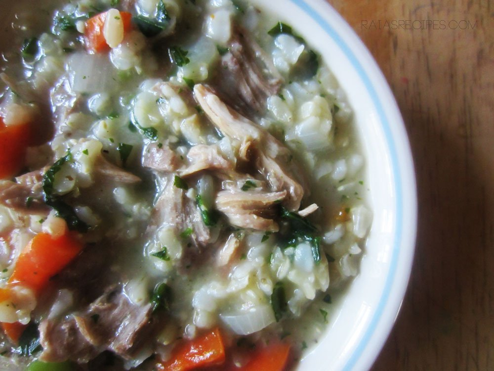 Turkey, Rice & Kale Soup | RaiasRecipes.com