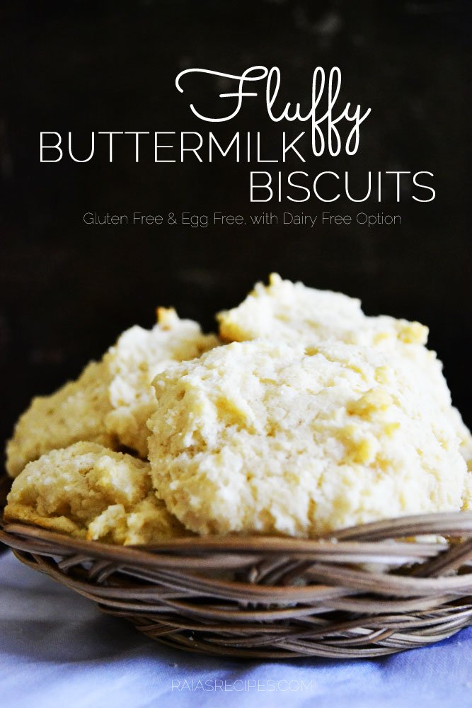 Fluffy Buttermilk Biscuits | gluten-free, egg-free, with dairy-free option | RaiasRecipes.com