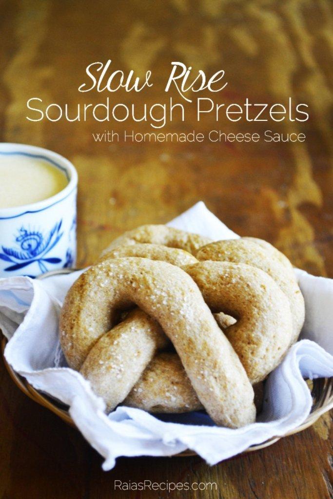 Delicious, tradional Slow-Rise Sourdough Pretzels with Homemade Cheese Sauce. | RaiasRecipes.com
