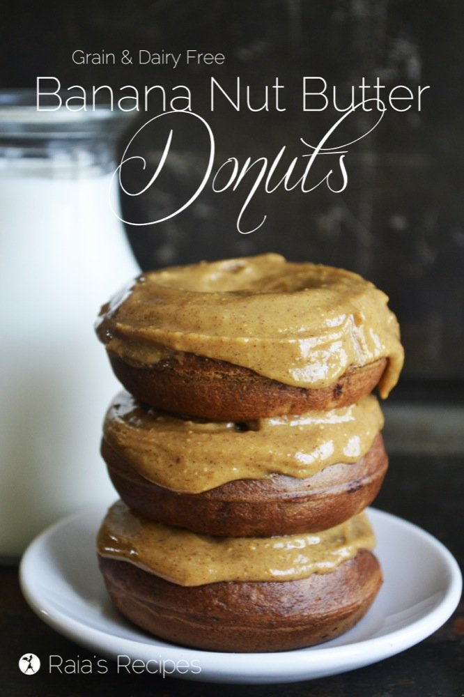 Banana Nut Butter Donuts | grain-free, dairy-free, refined sugar-free | paleo, GAPS | RaiasRecipes.com