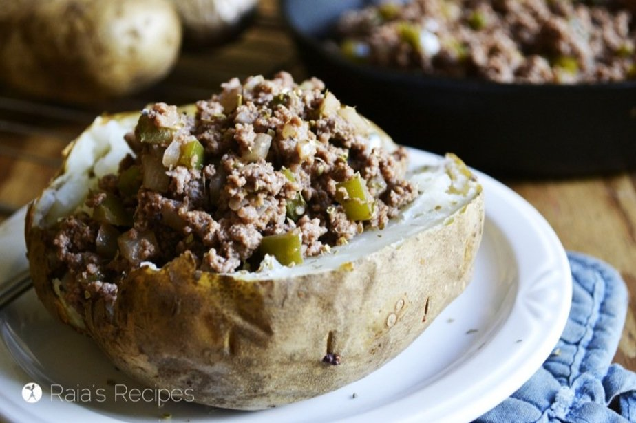 Grain-Free Sloppy Joe Baked Potatoes from Without Grain by Hayley Ryczek | RaiasRecipes.com