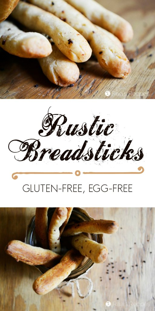 With a rustic crunchy crust and a delicate, melt-in-your-mouth inside, these Rustic Gluten-Free Breadsticks are perfect for soup season! | RaiasRecipes.com