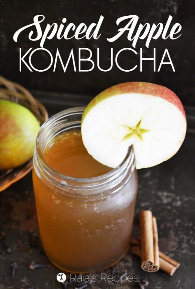 This Spiced Apple Kombucha is a delicious way to fill your with body with much needed nutrients.   RaiasRecipes.com