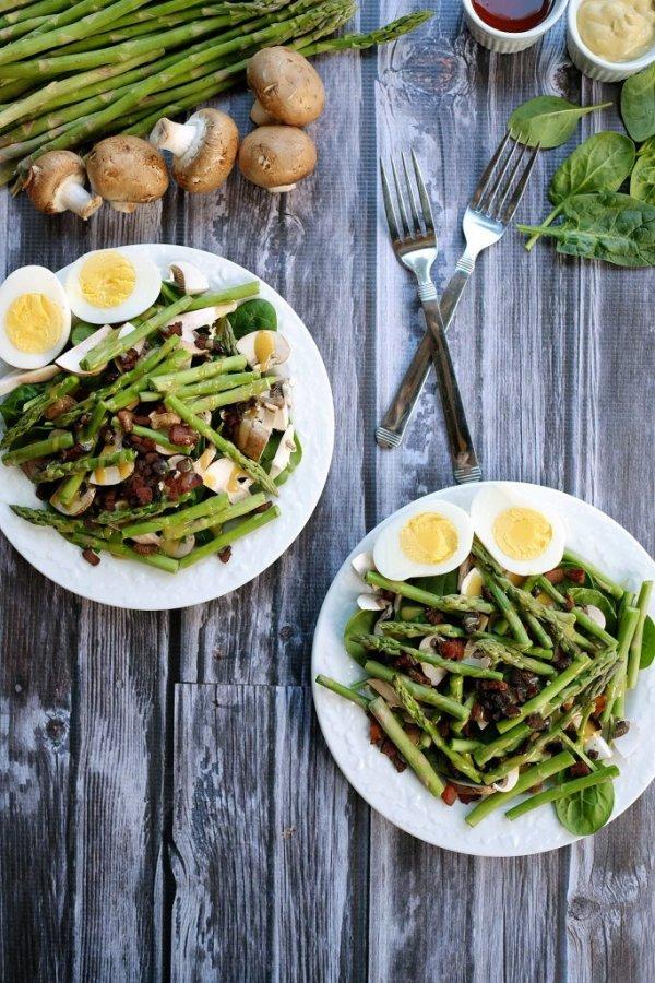 Honey Mustard Asparagus Bacon Salad from Real Simple Good at Savoring Saturdays Gluten-Free Linky Party | RaiasRecipes.com