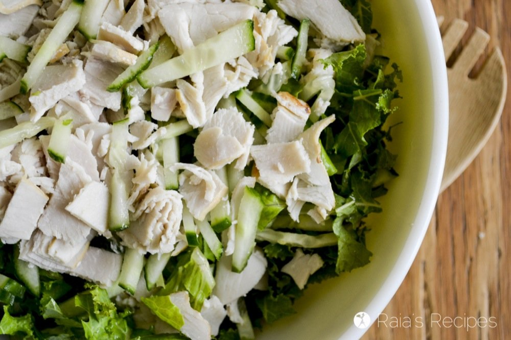 Simple Green Salad with Leftover Turkey and Homemade Ranch Dressing   RaiasRecipes.com