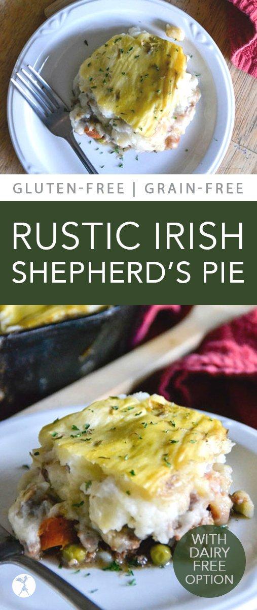 Delicious and comforting, this grain-free Rustic Irish Shepherd's Pie will have you wishing you made a double batch... #shepherdspie #grainfree #glutenfree #realfood #irish