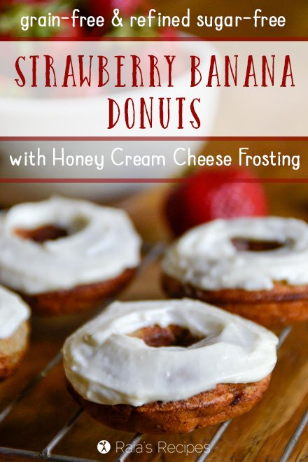 Need a delicious treat that shouts summer fun, but is still healthy? These grain-free, and refined sugar-free Strawberry Banana Donuts with Honey Cream Cheese Frosting are just the thing. | RaiasRecipes.com