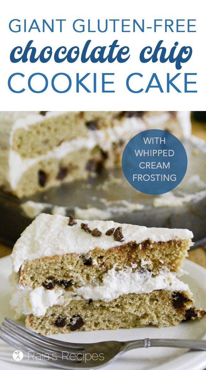 Giant Gluten-Free Chocolate Chip Cookie Cake #glutenfree #chocolatechipcookie #chocolatechips #cake #cookiecake #birthdaycake