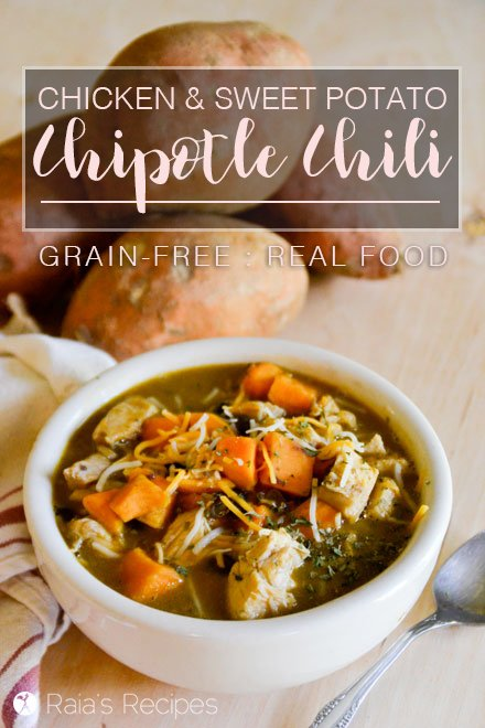 Celebrate all the wonder of fall with this hearty and warming grain-free Chicken & Sweet Potato Chipotle Chili. RaiasRecipes.com