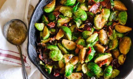 Pan Fried Brussels Sprouts with Bacon & Dried Cranberries