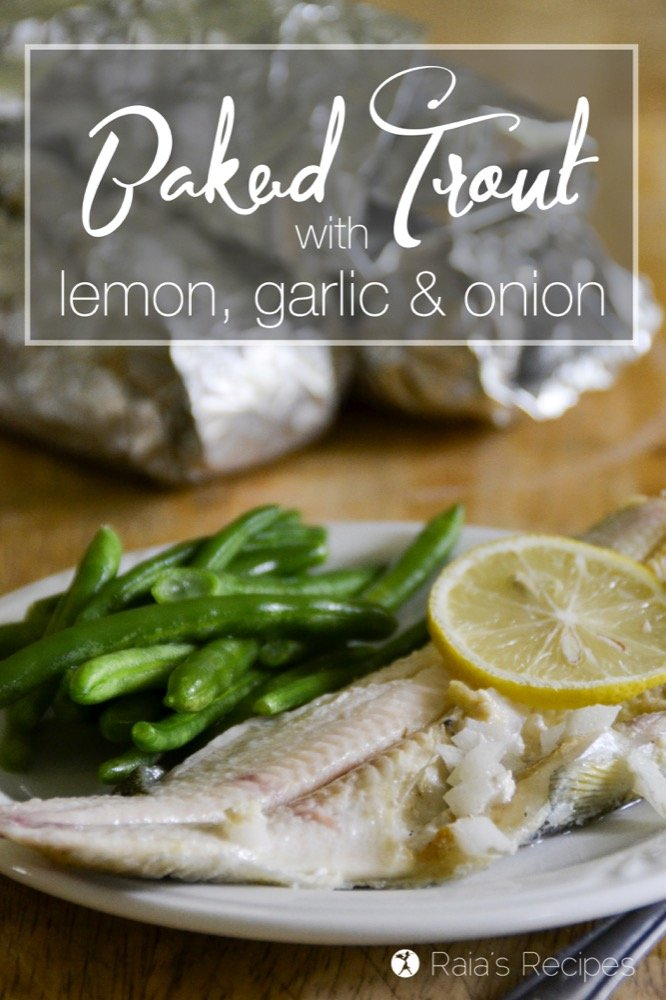Baked Trout with Lemon, Garlic and Onion | RaiasRecipes.com