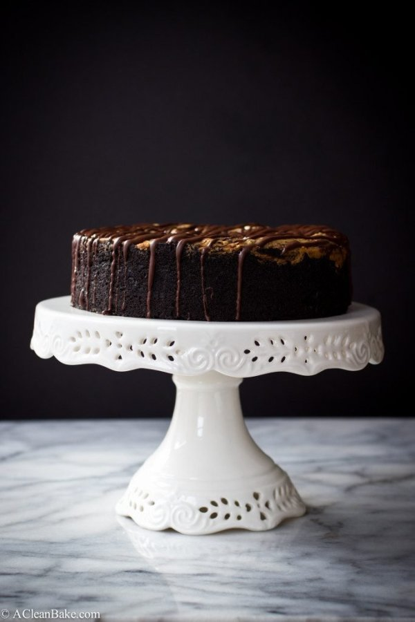 Deep Dish Dark Chocolate Cake with Almond Butter Swirl from A Clean Bake