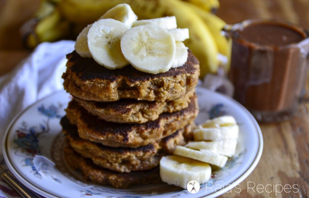 Coconut Flour Banana Pancakes with Chocolate Nut Butter Syrup