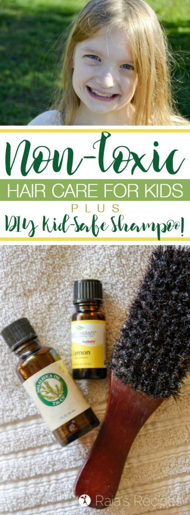 Want to keep your kids scalp and skin safe from unnecessary toxins? Here's what I do for non-toxic hair care for kids, as well as a kid-safe shampoo recipe that's easy to make yourself!