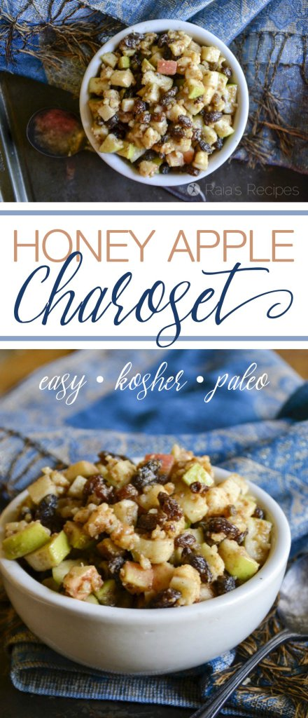 Whether you celebrate Passover or not, this Honey Apple Charoset is an easy and delicious paleo treat that your whole family is sure to enjoy! | RaiasRecipes.com