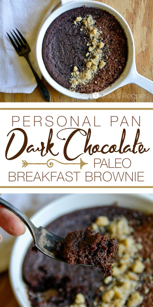 Start your day off with a bang with this deliciously healthy Personal Pan Dark Chocolate Paleo Breakfast Brownie! | RaiasRecipes.com