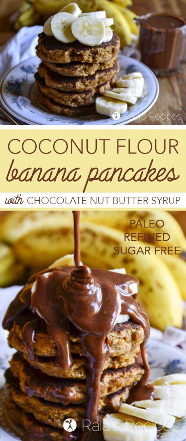 Perfectly fluffy and deliciously simple, these paleo Coconut FlourBanana Pancakes with Chocolate Nut Butter Syrupare sure to hit the spot any morning!
