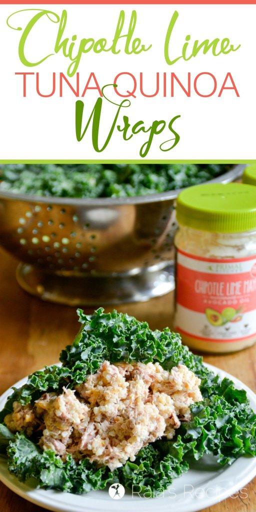 Celebrate summer year-round with these delicious grain-free Chipotle Lime Tuna Quinoa Wraps! | RaiasRecipes.com