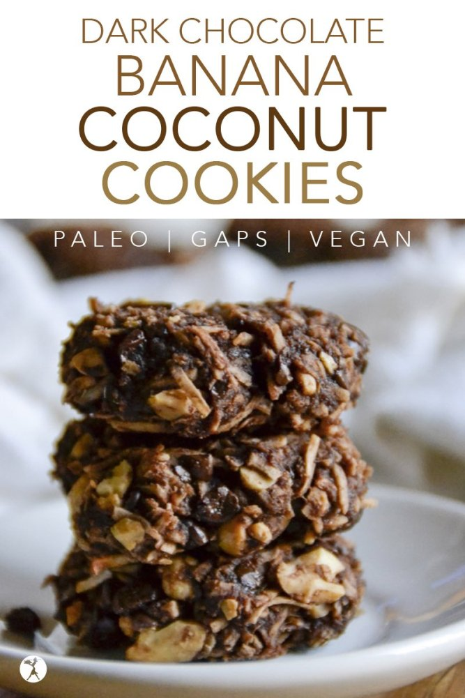 These easy and delicious vegan paleo Dark Chocolate Banana Coconut Cookies are a wonderful healthytreat!