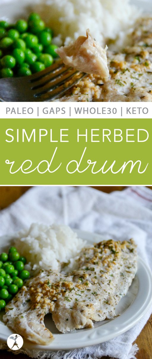 Nothing says summer like a delicious plate full of fish! Bursting with nutrients and flavor, this Simple Herbed Red Drum will be sure to please your tummy and taste-buds.  #seafood #fish #redrum #keto #paleo #gapsdiet #eggfree #pescetarian