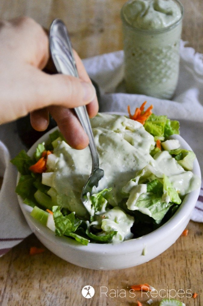 """dose of healthy fats with the superfood hidden in this delicious GAPS-friendly Creamy """"Buttermilk"""" Avocado Dressing."""