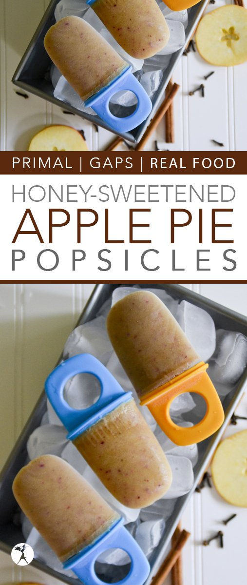 These gluten-free, primal, and GAPS diet friendly Apple Pie Popsicles are a healthy, kid-friendly way to celebrate apples and summer!