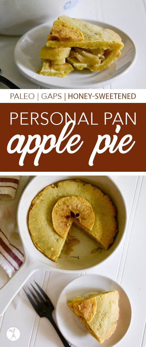 Need a grain-free, sugar-free treat for one? This Personal Pan Apple Pie is the answer. It's free of grain, sugar, and dairy, making it perfect for paleo and GAPS lifestyles.