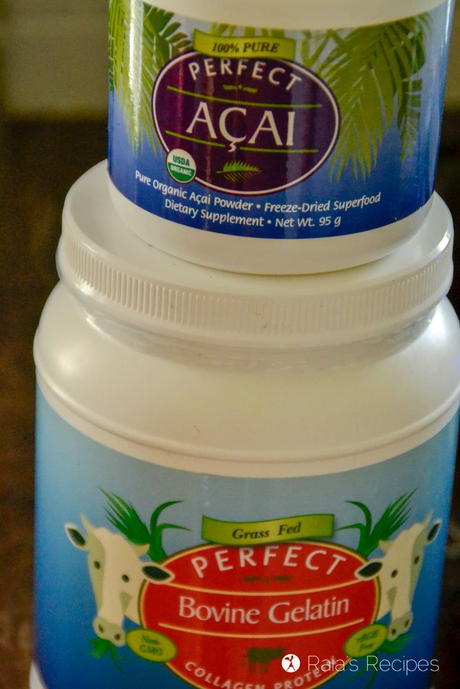 Perfect Supplements gelatin and acai powder
