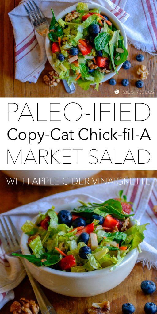 Bursting with fresh greens, fruits, and veggies, this paleo copy-cat Chick-fil-A Market Salad is a wonderful at-home option for salad lovers. #paleo #gapsdiet #whole30 #lowcarb #vegan #vegetarian #salad #chickfila #spinach #berries #healthy