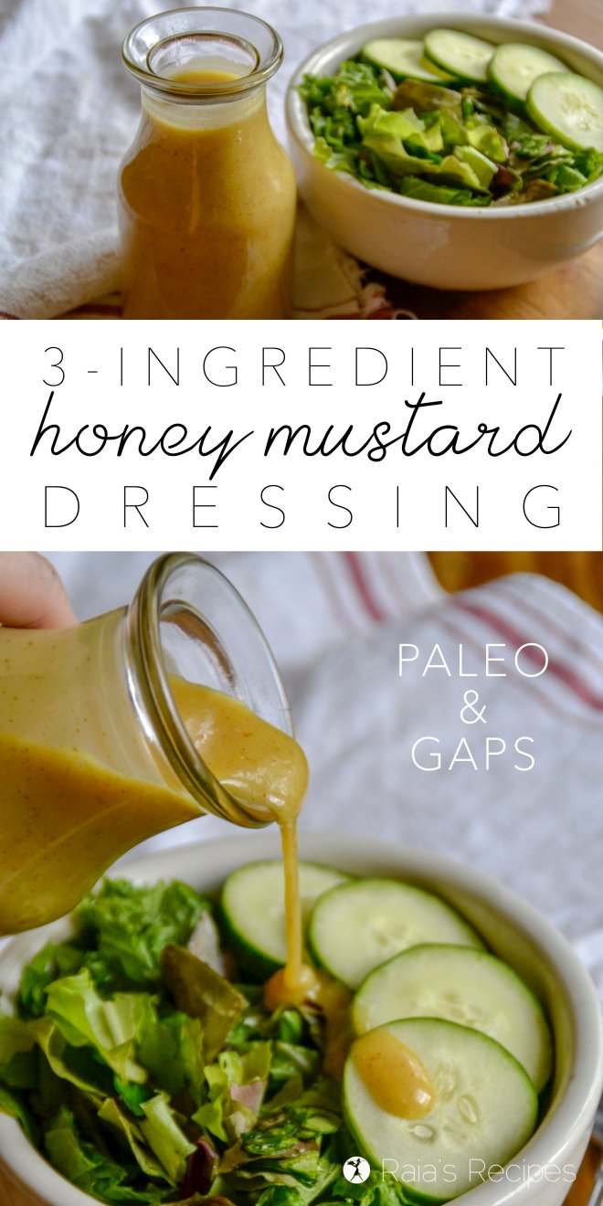 3-Ingredient Honey Mustard Dressing #paleo #realfood #GAPSdiet #salad