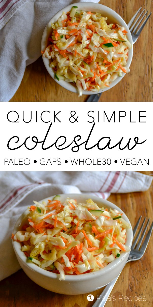 Looking for an easy and healthy side dish for your summer meals? Look no farther than this paleo, GAPS, whole30 and vegan Quick & Simple Coleslaw!