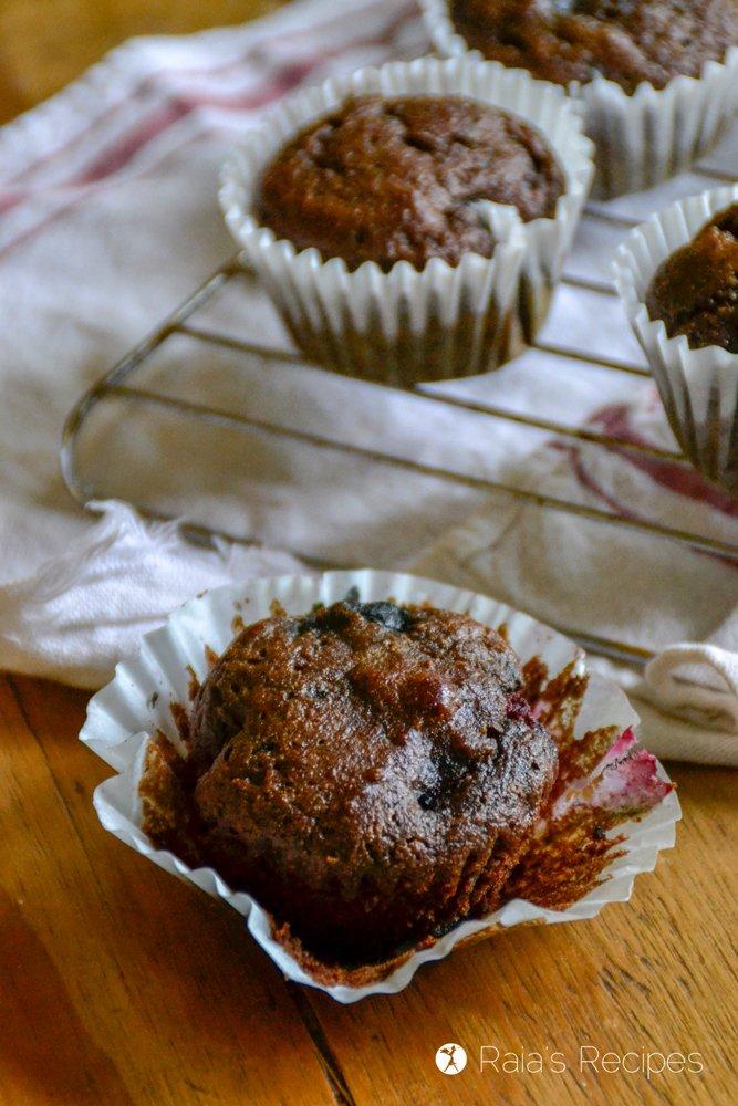 Dark Chocolate Triple Berry Muffins profile side