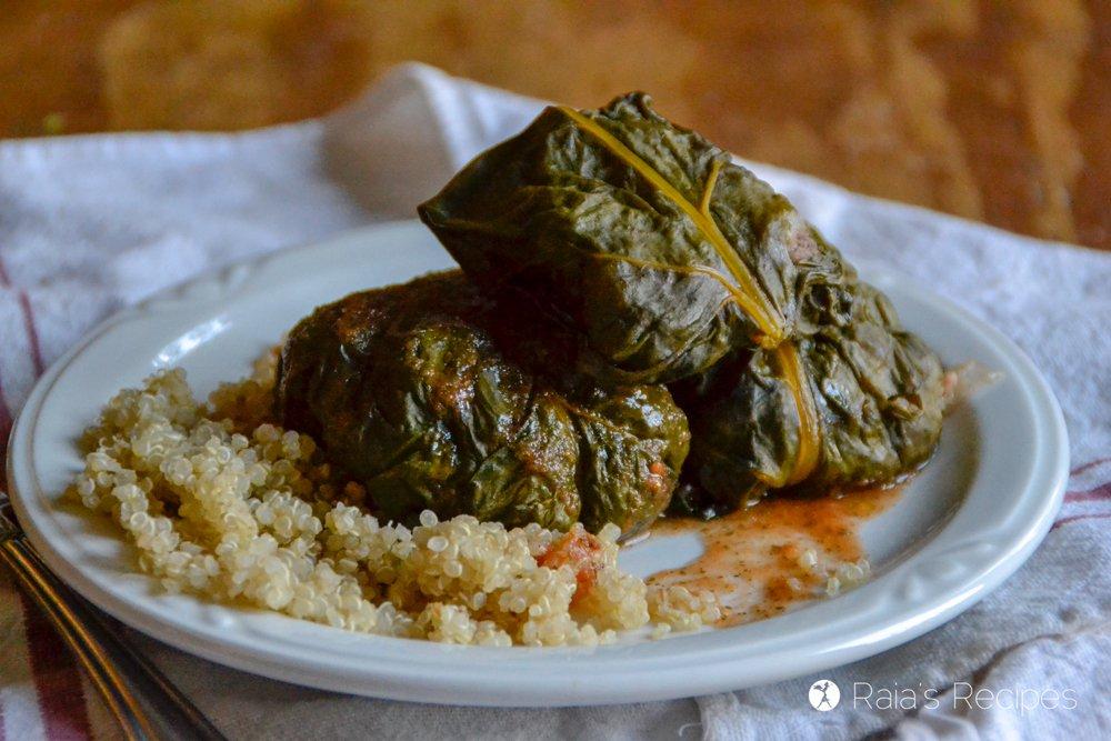 Quinoa & Beef Stuffed Chard Recipe