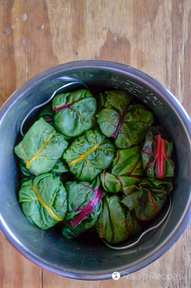 Quinoa & Beef Stuffed Chard in the Instant Pot prep 2