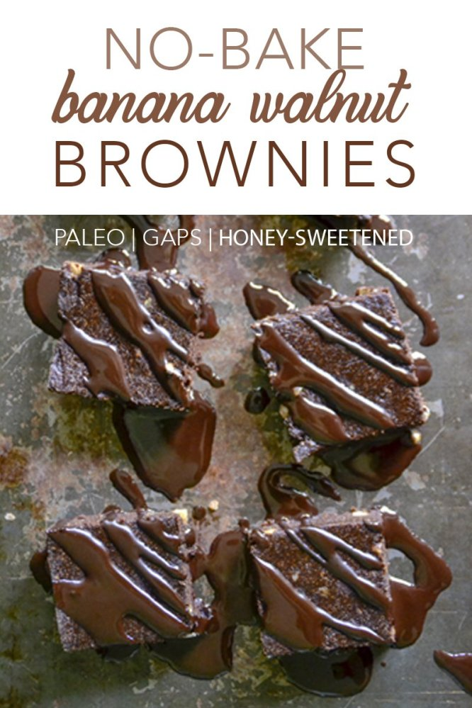 These paleo, GAPS diet-friendly No-Bake Banana Walnut Brownies are perfect for when you're craving a treat, but it's still too hot to turn on the oven!