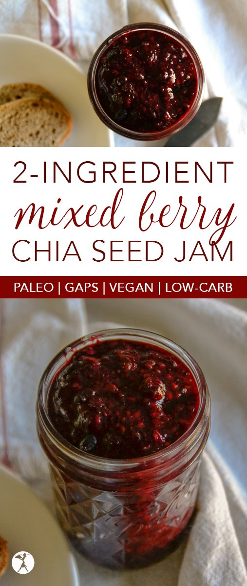 Spread a little love on your breakfast in the form of this easy, 2-ingredient Mixed Berry Chia Seed Jam! It fits pretty much any diet, paleo, GAPS, vegan, low-carb... #breakfast #jam #chiaseeds #berries #antioxidants #fruit #vegan #glutenfree #paleo #GAPSdiet #realfood #dairyfree #nosugaradded