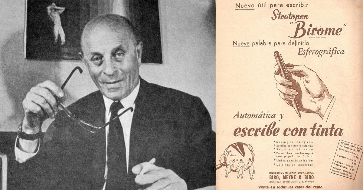Ladislao Biro en Argentina en 1978. Derecha: Propaganda comercial en la revista argentina Leoplan, de 1945, promoviendo la primera birome