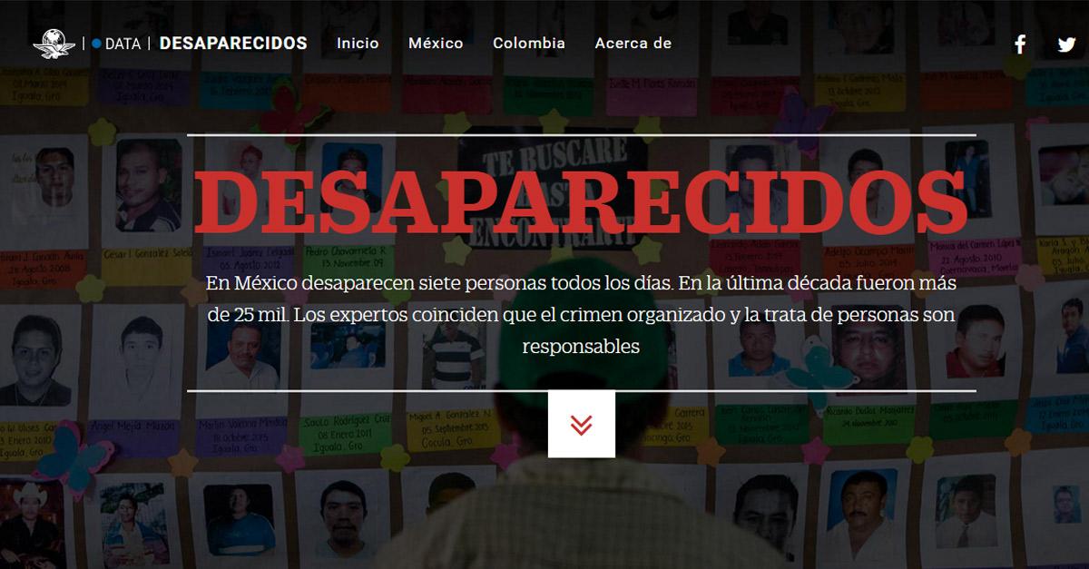 Imagen tomada de la página web de Desaparecidos
