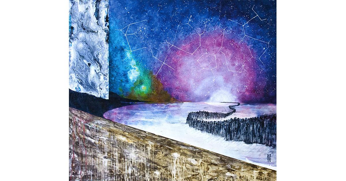 "Miquel Serratosa. ""Exodus""Técnica mixta sobre lienzo, 130 x 110 cm."