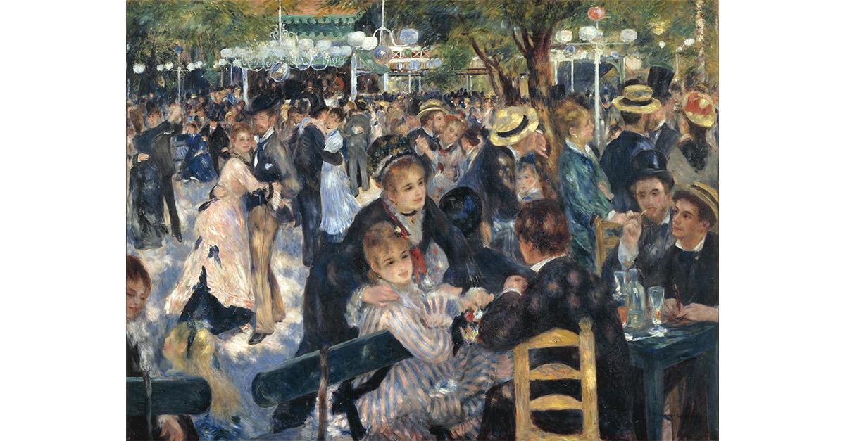 Bal du Moulin de la Galette [Baile en el Moulin de la Galette], 1876 Musée d´Orsay, París. Legado de Gustave Caillebotte 1894 RF 2739 © RMN-Grand Palais (musée d'Orsay) / Hervé Lewandowski