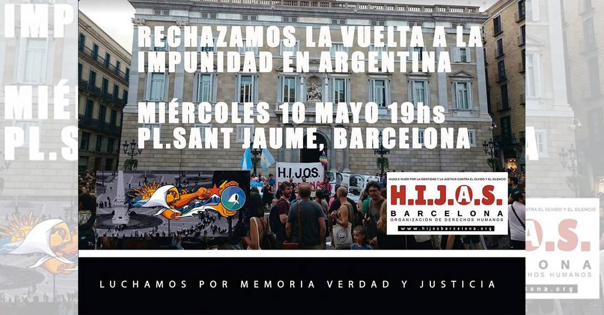 H.I.J.O.S. Barcelona convoca manifestación contra la impunidad