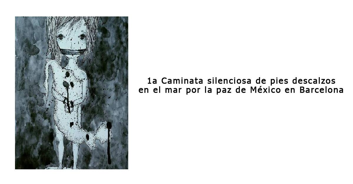 1a Caminata por la playa de la Barceloneta por la paz de México