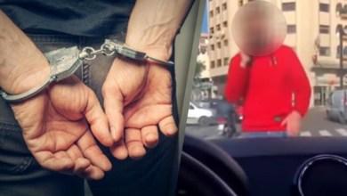 صورة توقيف المشتبه فيه الذي ظهر في شريط فيديو وهو بصدد تعريض إحدى مستعملات الطريق للتهديد الجسدي واللفظي بالدار البيضاء