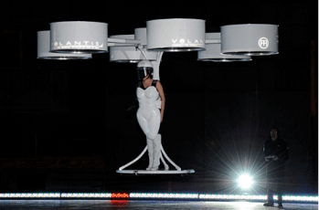 The brightest of all moments was when Gaga debuted Volantis, 'the flying dress.' [Courtesy of Bryan Bedder/Getty Images for Benjamin Rollins Caldwell]