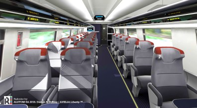 The new Acela trainsets include an advanced seat reservation system that easily distinguishes seat availability.