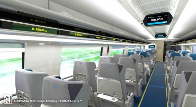 Each seat in the new Acela trainsets will be equipped with dual tray tables providing customers with a large and small table option.