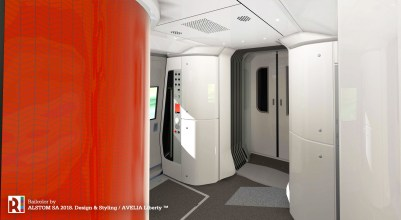 The articulated design allows customers to easily and smoothly move between train cars, with large vestibule areas.